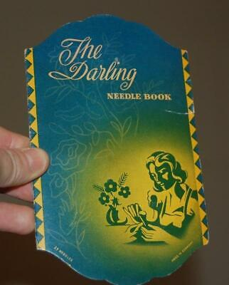 VINTAGE THE DARLING NEEDLE BOOK NEEDLES ADVERTISING SEWING NEEDLE KIT GERMANY