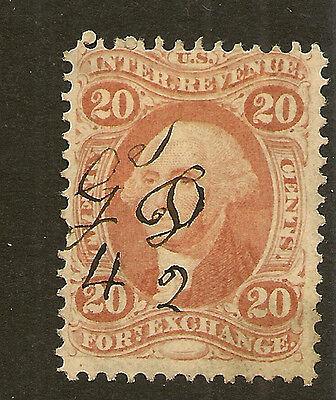 UNITED STATES REVENUE :  1863 20c Foreign Exchange Scott # R41c  cancelled