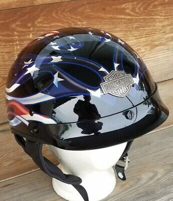 Harley Davidson OLD GLORY Stars Stripes Flames Hybrid Half Helmet MD ,DOT w/ Bag