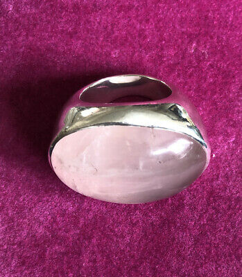 Fabulous Very Heavy Chunky Rose Quarz And Silver Ring