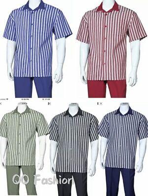 Men's 2pc Walking Suit Short Sleeve Casual Shirt & Pants Set  M2969. (Suit Sleeve)