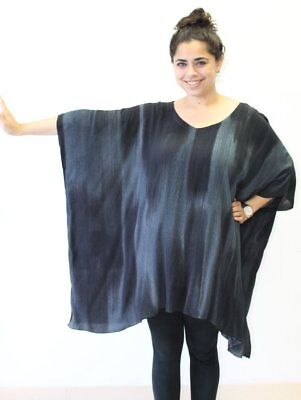 Modesce Hand Painted Tunic Poncho Caftan Top OVERSIZED Plus Size Cascading Black