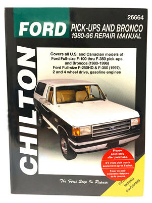CHILTON BOOKS 26664 Repair Manual Ford F150 F250 F350 Super-Duty & Bronco 80-96