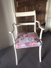 Pretty shabby chic cream chair with pink and grey macaroon fabric