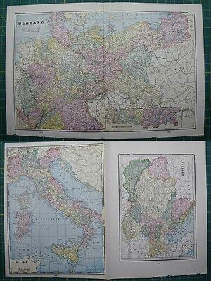 Germany Austria Italy Vintage Original 1895 Crams World Atlas Map Lot