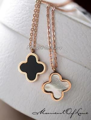 Fashion Flower 4-leaf Lucky Clover Pendant 14k Gold GP Black/White Necklace ()