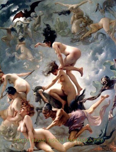 """Nude Witches Going to Their Sabbath 8.5x11"""" Photo Print Luis Ricardo Falero Art"""