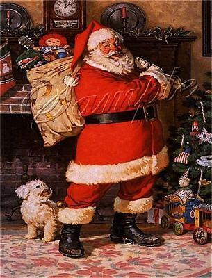 VINTAGE CHRISTMAS SANTA CLAUS BICHON FRISE DOG RAGGEDY ANN DOLL CANVAS ART PRINT Bichon Frise Dog Art