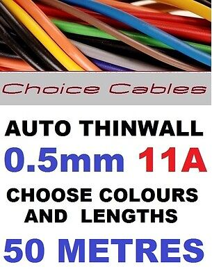 50M CABLE KIT 0.5mm 12V AUTO CABLE 11 AMPS 16/0.2 CAR LOOM WIRE THINWALL 12/24v