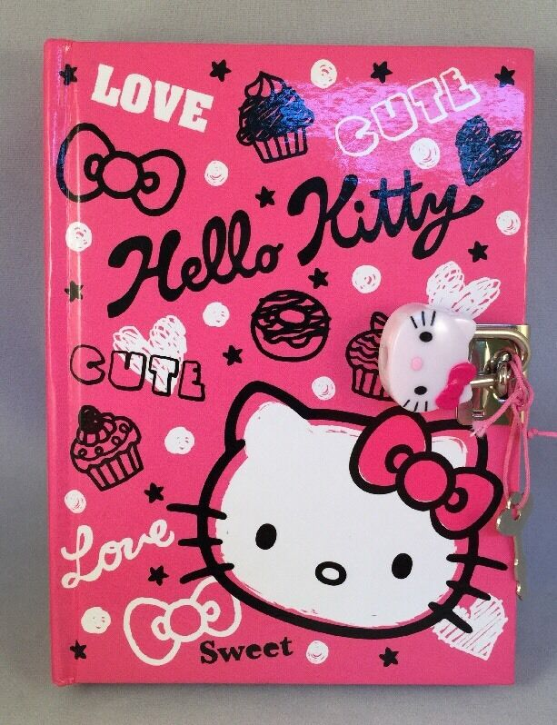 Sanrio Hello Kitty Diary Book Notebook with Key Lock 200+ Pages Used