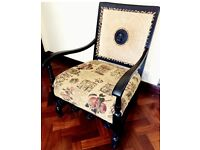 Antique hand caned arm chair - stunning show piece