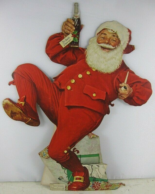 Vintage 1955 Die-Cut Cardboard Pepsi Christmas Santa Advertising Norman Rockwell