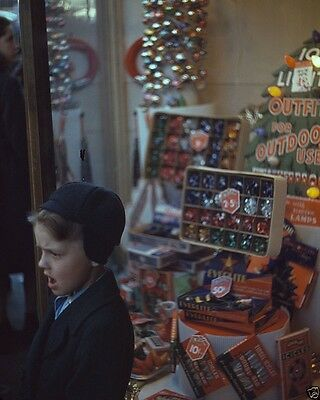 Young boy standing in front of store window Christmas display - New 8x10 Photo