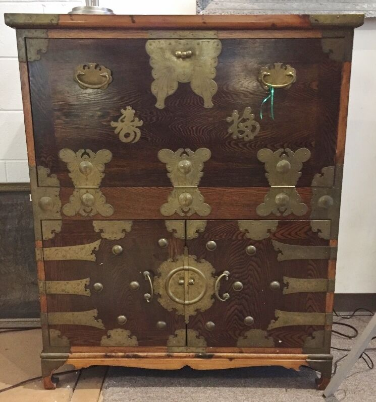 VINTAGE  KOREAN CHEST WITH DROP FRONT DESK- PRICE REDUCTION.