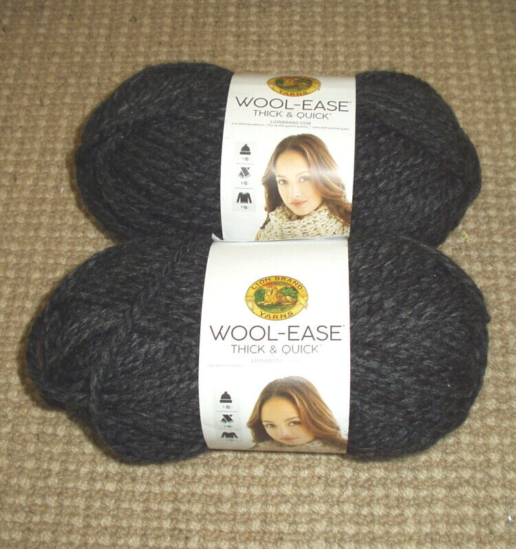 TWO NEW SKEINS Lion Brand Wool-Ease Charcoal 640-149 -Thick Quick - MORE  - $14.00