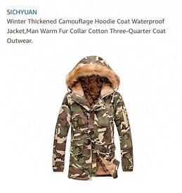 Camouflage hoody coat Size M
