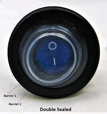 Double Seal Blue Led Waterproof Rocker 12v Toggle Switch Spst Marine Round Ip66