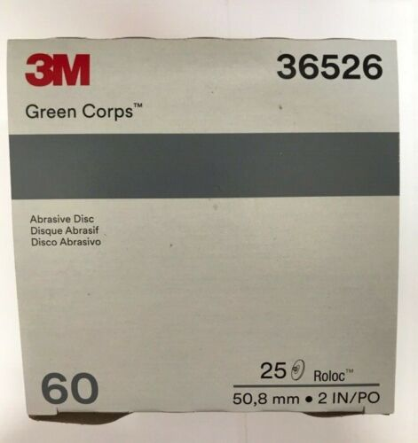 """3M Green Corps Roloc Grinding Discs 2"""" 60 Grit 3M 36526 replacement for 3M 01397"""