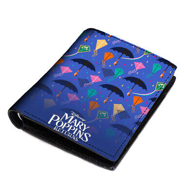 Mary Poppins Returns Men's Wallet Black Leather Custom Money & Card Holder - Mary Poppins Custome