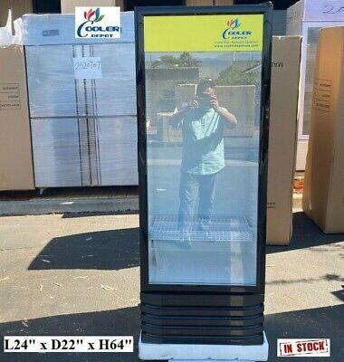 New Glass Door Refrigerator Cooler Beverage Merchandiser Nsf 24 X 22 X 64
