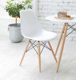 Eiffel Dining Table Chairs (x 3) - White/Beech