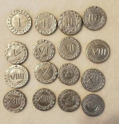 Roman Brothel coin set of 16 reproduction