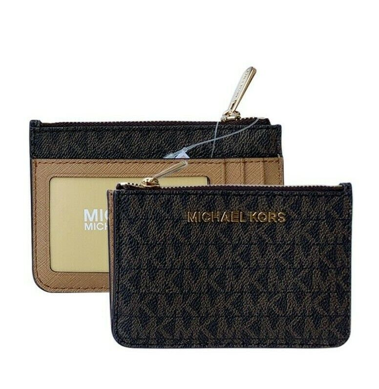 Michael Kors Jet Set Travel Small Top Zip Coin Pouch ID Holder Key Ring Wallet Brown/Acorn