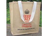 Fair Trade Eco-Ethnic Large Jute Keep Calm Shopping Bag 15 x 35 x 40cm
