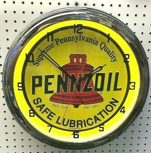 """16"""" PENNZOIL Safe Lubrication Sign Single Neon Clock Gas Station Oil Lube Grease"""