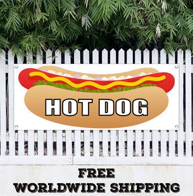 Banner Vinyl Hot Dog Advertising Sign Flag Chicago Wiener Franks Chili Red Food
