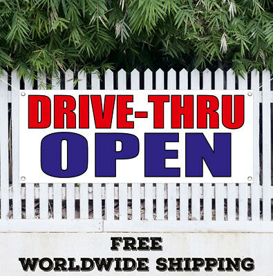 Drive Thru Open Banner Vinyl Advertising Sign Flag Many Sizes Free Shipping