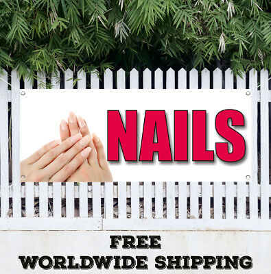 Banner Vinyl Nails Advertising Flag Sign Beauty Salon Manicure Pedicure Spa