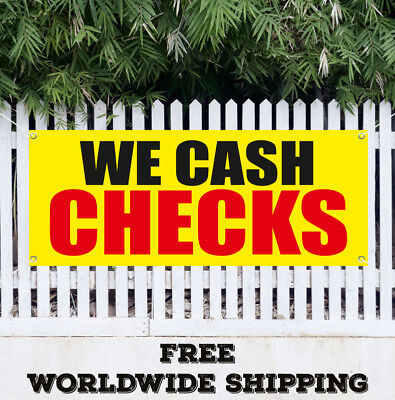 Banner Vinyl We Cash Checks Advertising Sign Flag Gift Pawn Shop Coins Jewelry