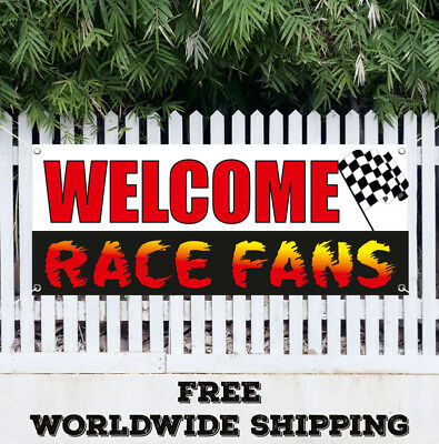 Banner Vinyl WELCOME RACE FANS Advertising Sign Flag Sports