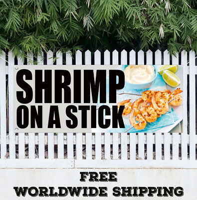 Banner Vinyl SHRIMP ON A STICK Advertising Sign Flag Fry Shrimps Dinner Seafood
