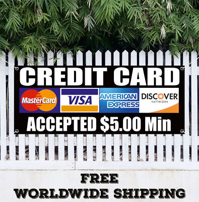 Banner Vinyl Credit Card Accepted 5 Min Advertising Sign Flag Visa Discover