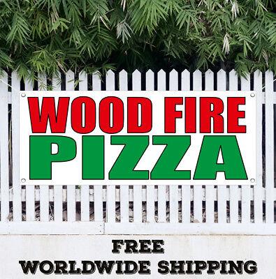 Wood Fire Pizza Banner Vinyl Advertising Sign Flag Italian Hot Dog Sausage