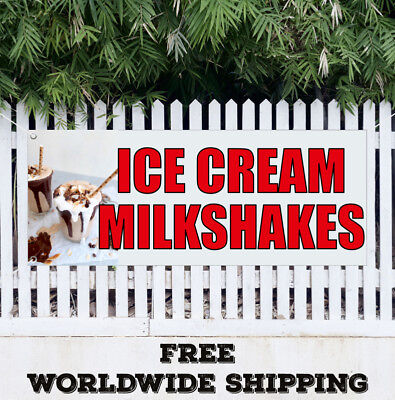 Banner Vinyl Ice Cream Milkshakes Advertising Sign Flag Sundae Homemad Yoguart