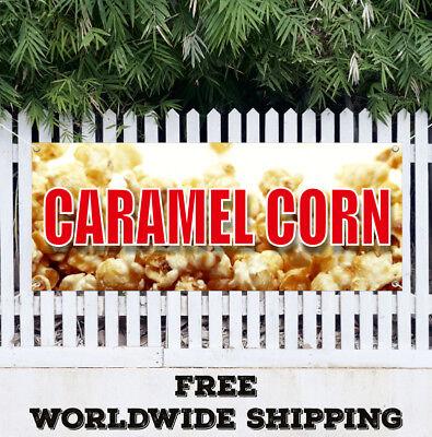 Caramel Corn Banner Vinyl Advertising Flag Sign Fair Carnival Popcorn Pop