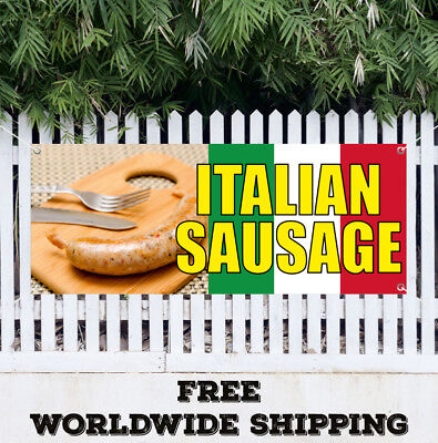 Banner Vinyl ITALIAN SAUSAGE Advertising Sign Flag Many Size Restaurant Food