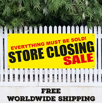 Banner Vinyl Store Closing Everything Must Be Sold Sale Advertising Flag Sign