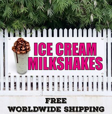 Banner Vinyl Ice Cream Milkshakes Advertising Sign Flag Sundae Homemad Yoguart