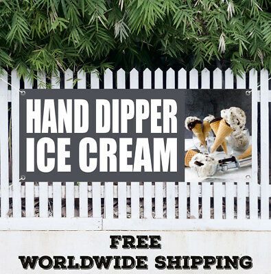 Banner Vinyl Hand Dipped Ice Cream Advertising Sign Flag Gift Many Size Candy