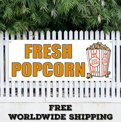 Banner Vinyl Fresh Popcorn Advertising Sign Chips Soda Cinema Bar Shop Store