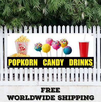 Banner Vinyl Popcorn Candy Drinks Advertising Sign Chips Soda Bar Shop Store