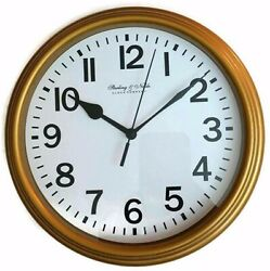 Mainstays Gold Wall Clock 8.78 dia x 1.5 depth, Sterling & Noble Clock Company
