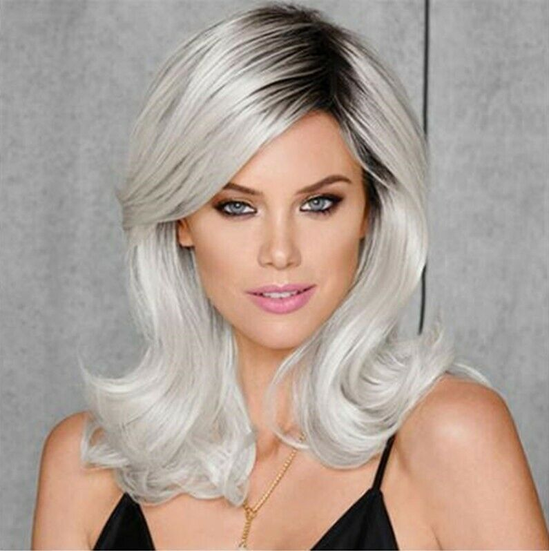 Ash Gray to Silver White Ombre Wavy Curly Blonde Wig Shoulder Length Women Hair Hair Care & Styling