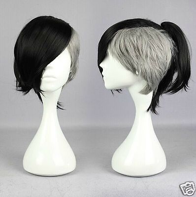 Tokyo Ghoul Uta Black Gray Straight Anime Costume Cosplay Wig +CAP +Free Ship - Uta Caps