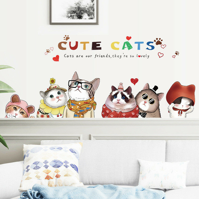 Home Decoration - Lovely Cute Cats Removable Wall Decals Home Decor DIY Vinyl Mural Fun Kids