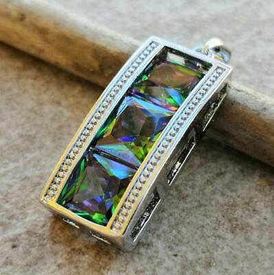 Mystic Topaz Necklace - Handmade Rainbow Mystical Fire Topaz 925 Sterling Silver Pendant Necklace 1.25
